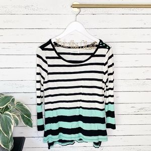 Anthropologie Pilcro Striped 3/4 Sleeve Top